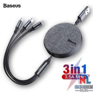 Cáp sạc Baseus Fabric 3 in 1 Flexible cuộn tròn