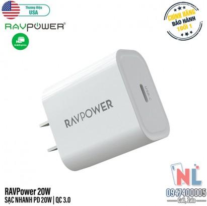 Củ Sạc Nhanh RAVPower PD 20W cho iPhone 12 Series