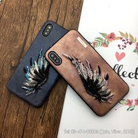 Ốp lưng iPhone X / Xs da thêu hình cánh chim đại bàng