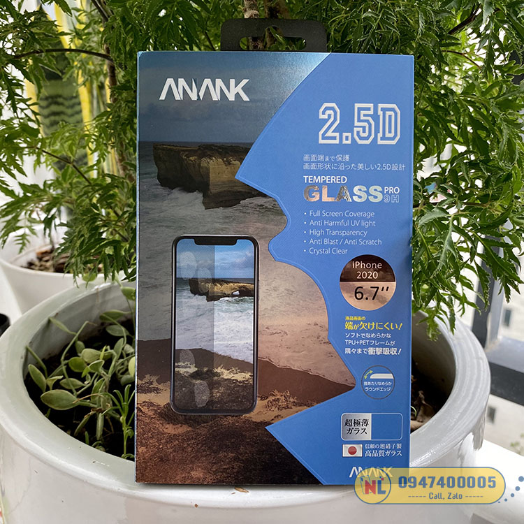 miếng dán cường lực iphone 12 pro max anank chống vân tay